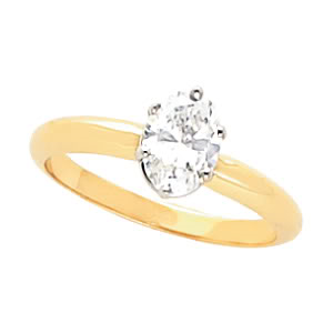 Oval Diamond Solitaire Engagement Ring 14k 0.39 Ct, G , SI3