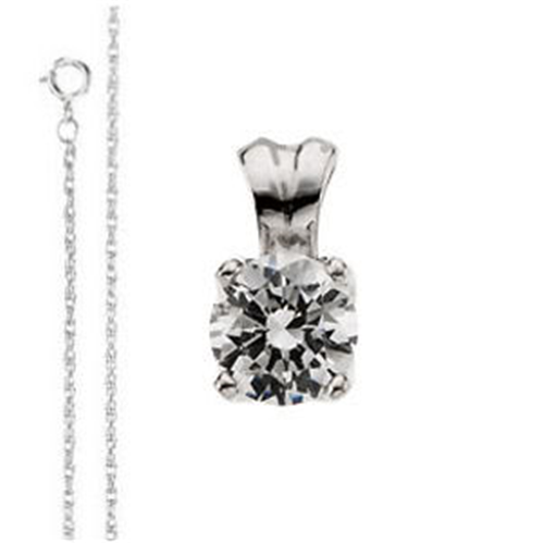 Round Diamond Solitaire Pendant Necklace 14K  ( 0.39 Ct, J Color, SI1 Clarity)