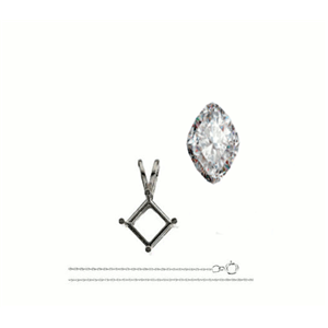Cushion Diamond Solitaire Pendant Necklace 14K White Gold ( 0.74 Ct, I Color, I2 Clarity)
