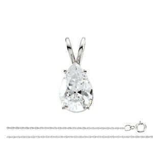 Pear Diamond Solitaire Pendant Necklace 14k White Gold (0.71 Ct, H Color, I1 Clarity)