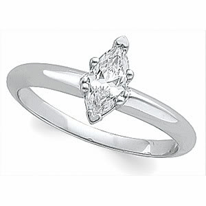 Marquise Diamond Solitaire Engagement Ring 14k White Gold (0.52 Ct, e Color, VVS2 Clarity) EGL Certified