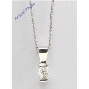 Oval Millennial Sunrise (Limited Edition) Diamond Solitaire Pendant Necklace, 14k White Gold (0.65 Ct, G, VS)
