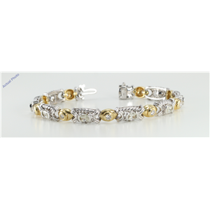 14k Two Tone Gold Oval Millennial Sunrise Limited Edition & Round Cut Bezel Setting Diamond Bracelet (5.1ct, I-J, SI-VS)