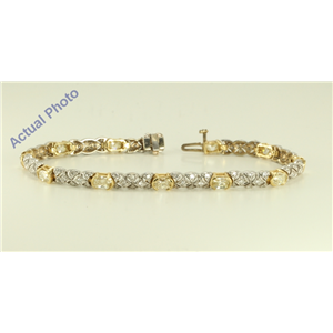 14k White and Yellow Gold Millenial Sunrise and Round cut two tone fashion link bracelet (5.41 Ct J-K & G-H ,SI-VS)