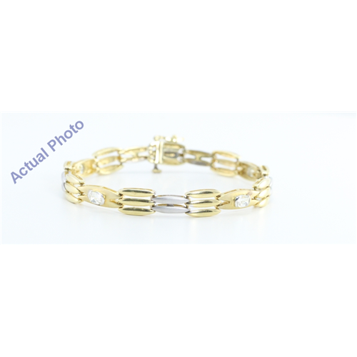 14k Two Tone Gold Oval Millennial Sunrise Diamond Classic Vintage Style Two Tone Bracelet(1.5ct, I-j, VVS)