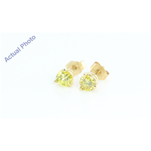 14k Yellow Gold Round Classic Yellow Solitaire Diamond Stud Earrings (0.75 Ct, Yellow(Irradiated) , SI )