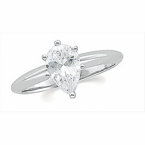Pear Diamond Solitaire Engagement Ring 14k White Gold (1.01 Ct, d Color, SI1 Clarity) WGI Certified