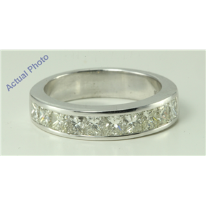 14k White Princess & Diamond Pave Ten stone invisible set modern half-eternity wedding b&(1.4ct, G, SI2)