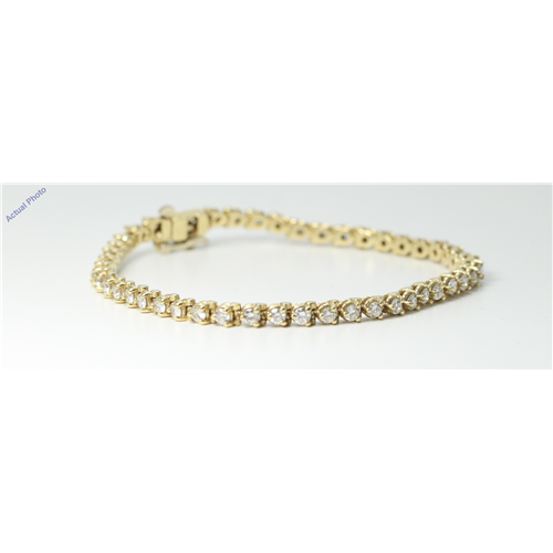 18k Yellow Gold Round Diamond Modern classic three claw setting tennis bracelet (2.7 Ct, H , SI1 )
