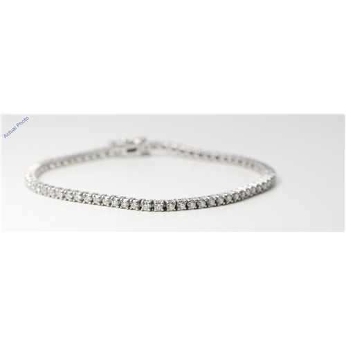 14k White Gold Round Diamond Modern classic four claw setting tennis bracelet (1.87 Ct, G Color, VS1 Clarity)