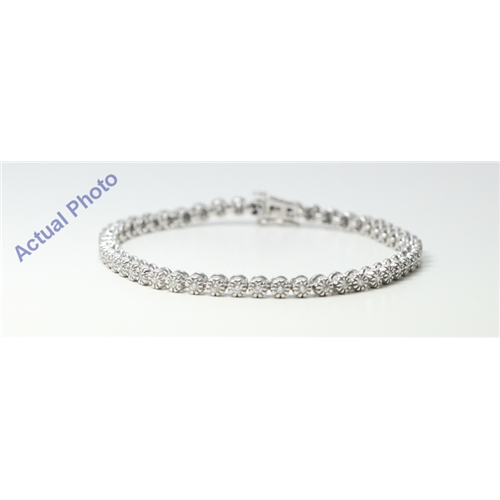 14k White Gold Round Diamond Modern classic engraved stud setting tennis bracelet (1.2 Ct, G , SI1 )