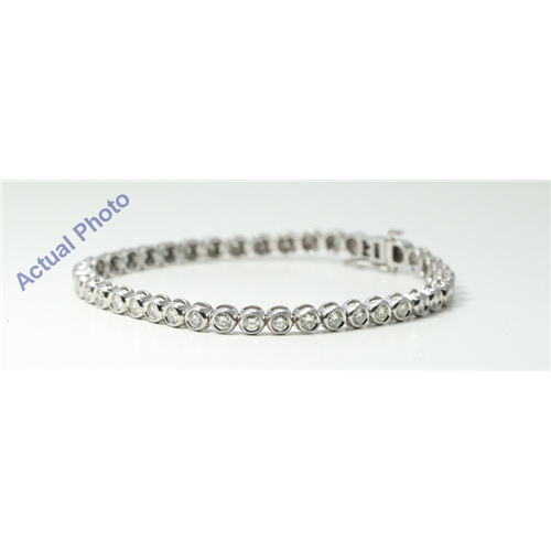 14k White Gold Round & Diamond Bezel Setting Modern classic bezel set cup tennis bracelet (2.64 Ct, K , VS2 )
