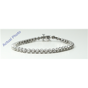 14k White Gold Round Diamond Contemporary classic four claw crown setting tennis bracelet (2.55 Ct, I , SI3 )