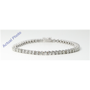 14k White Gold Round Diamond Contemporary classic four prong setting tennis bracelet (7.27 Ct, I , VS2 )