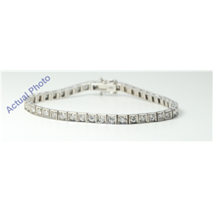 14k White Round Modern contemporary concave square mirror link diamond set tennis bracelet(2.75ct, F, SI1)