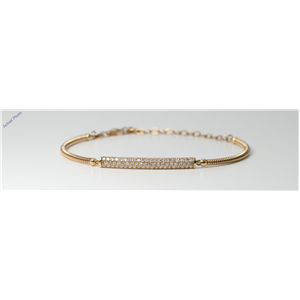 18k Rose-Gold Round Plain gold spiral bracelet with three row diamond set bar motif (0.51 Ct, I , SI2 )