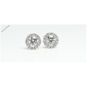 14k White Gold Round bezel set butterfly post earring with diamond set bezel surround (0.81 Ct, H, VS2 )