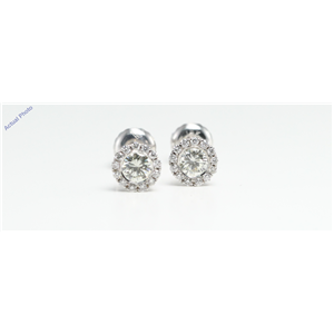 14k White Gold Round claw set threaded screw post earring with diamond set bezel surround (0.56 Ct, K, SI1 )