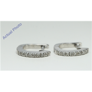 "14k White Gold Round Classic half-moon ""huggie style"" single row diamond prong set earrings (0.16 Ct, F, SI2)"