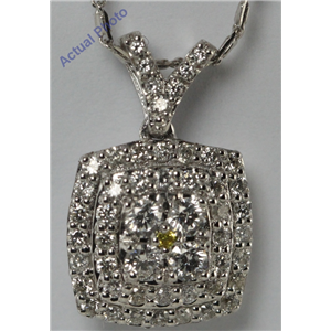 14k White Gold Round Contemporary classic multi-stone square shield shape diamond pendant (0.49 Ct, F, SI1 ) (Treated)