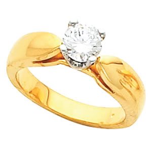 Round Diamond Solitaire Engagement Ring 14k Yellow Gold (0.7 Ct, h Color, VS1 Clarity) WGI Certified