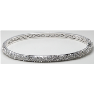 14k White Gold Round Setting Four row dome shaped pave set diamond hinged bangle bracelet (1.8 Ct, H , SI1 )