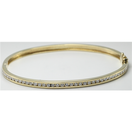 14k Yellow Gold Round Single row channel set diamond retro style hinged bangle bracelet (1 Ct, H , SI2-SI3 )