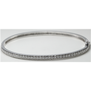 14k White Gold Round Cut Classic diamond hinged bangle bracelet (1 Ct, H Color, SI2-SI3 Clarity)