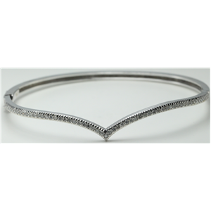 14k White Gold Round Contemporary V shaped design diamond hinged bangle bracelet (0.5 Ct, H , SI2-SI3 )