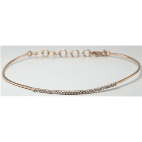 14k Rose Gold Round Cut Classic flexible wire diamond set bar bracelet (0.25 Ct, H Color, SI2-SI3 Clarity)