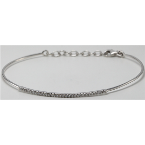 14k White Gold Round Cut Classic flexible wire diamond set bar bracelet (0.25 Ct, H Color, SI2-SI3 Clarity)