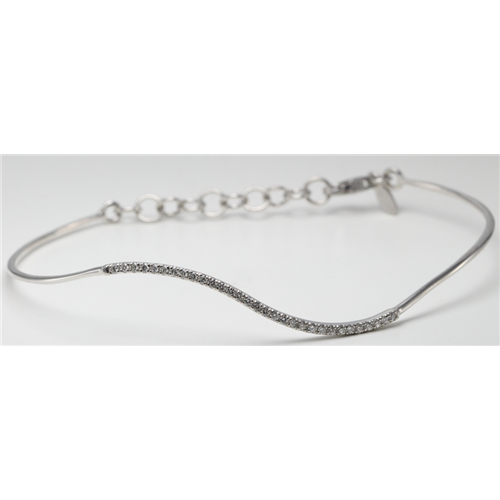 14k White Gold Round Classic wavy-curved flexible wire diamond set bar bracelet (0.25 Ct, H , SI2-SI3 )