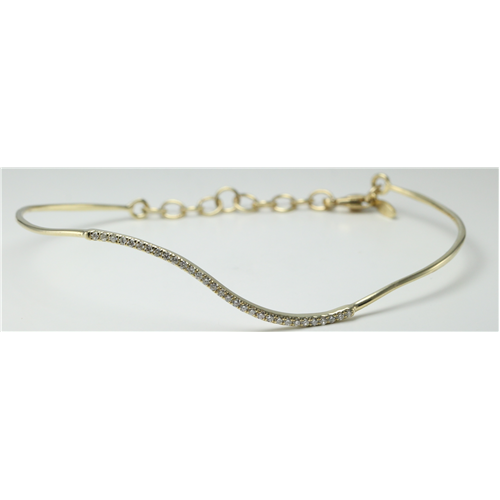 14k Yellow Gold Round Classic wavy-curved flexible wire half set diamond bracelet (0.25 Ct, H , SI2-SI3 )