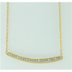 14k Yellow Gold Round Multi stone diamond channel set eternity trapeze necklace (0.26 Ct, H , SI2-SI3 )