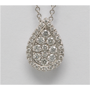 14k White Gold Round Cut diamond set pear shape pendant necklace (0.4 Ct, H Color, SI2-SI3 Clarity)