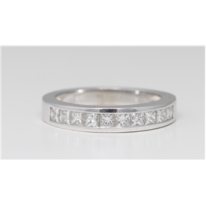 14k White Gold Princess Classical channel set diamond half eternity wedding band ring (1 Ct, G , VS2 )