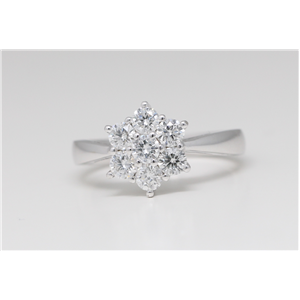 14k White Gold Round Classic seven stone cluster diamond set engagement ring (1 Ct, H Color, SI2-SI3 Clarity)