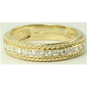 14k Yellow Gold Round Modern twisted rope pattern diamond half eternity wedding b& ring (0.33 Ct, H, SI2-SI3)