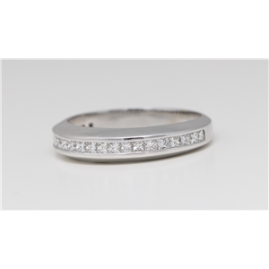 14k White Gold Princess Classical channel set diamond half eternity wedding band ring (0.55 Ct, G , VS2 )