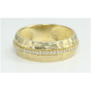 14k Yellow Gold Round Modern hammered effect diamond half eternity wedding band ring (0.16 Ct, H , SI2-SI3 )