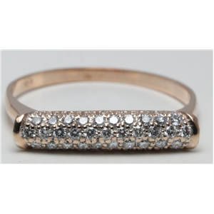 14k Rose Gold Round Cut Setting Contemporary pave set bar diamond ring (0.31 Ct, H Color, SI2-SI3 Clarity)