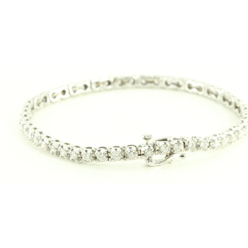 14k White Gold Round Modern Contemporary Classic Diamond Tennis Bracelet (2 Ct, H , SI2-SI3(K.M) )