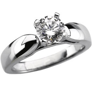 Round Diamond Solitaire Engagement Ring 14k White Gold 1.26 Ct, (I Color, I2(K.M) Clarity)
