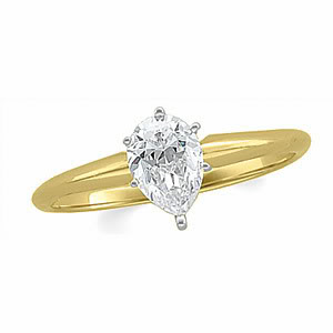 Pear Diamond Solitaire Engagement Ring 14k Yellow Gold (0.64 Ct, f Color, VVS1 Clarity) WGI Certified