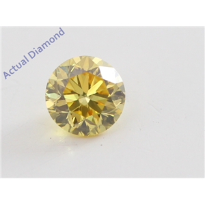 Round Cut Loose Diamond (0.21 Ct, Natural Fancy Vivid Yellow Color, VVS2 Clarity) IGL Certified