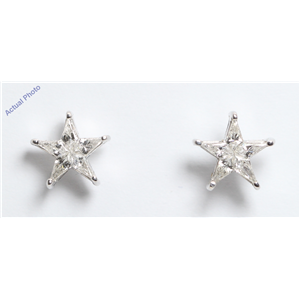 18k White Gold Kite Invisibly Set Modern classic five-pointed star exclusive diamond earrings(0.51ct, G, VS)