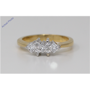 18k Two Tone Gold Princess Trilogy engagement ring with four diamond spacers (0.75 Ct, H Color, VS Clarity)