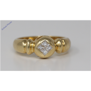 18k Yellow Gold Princess Invisible Setting Four stone contemporary classic diamond ring(0.3 ct, H, VS)