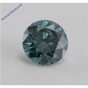 Round Cut Loose Diamond (0.71 Ct, Sky Blue(Color irradiated), I1)