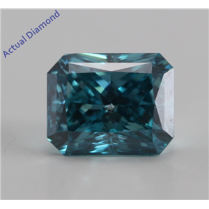 Radiant Cut Loose Diamond (1.13 Ct, Blue (Color Irradiated), SI2 (Laser Drilled))